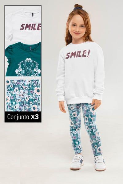 CONJUNTO X 3 CAMISETA-BUZO-LEGGINGS  Multicolor