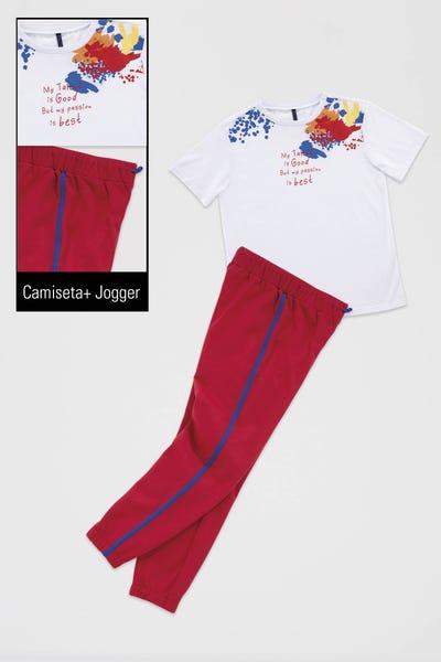 CONJUNTO X 2 CAMISETA-JOGGER  Multicolor