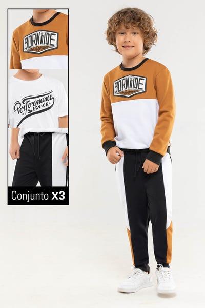 CONJUNTO X 3 BUZO-CAMISETA-SUDADERA Multicolor
